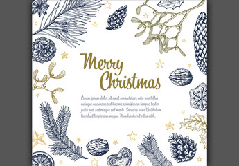 Christmas Card with Hand-Drawn Nature Illustrations 1