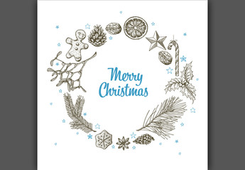 Christmas Card with Hand-Drawn Nature Illustrations 3
