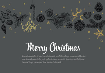 Christmas Card with Hand-Drawn Illustrations on Gray Background