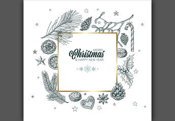 Christmas and New Year's Card with Hand-Drawn Nature Illustrations
