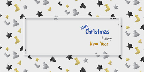 marry christmas and happy new year - vector banner background ( holiday , xmas )