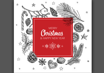 Christmas and New Year's Card with Nature Illustrations in Red and Black