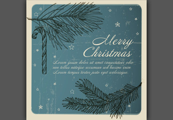 Christmas Card with Nature and Star Illustrations on Blue Background