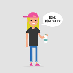 Drink more water. Helpful advice. Healthy lifestyle. Flat editable vector illustration, clip art. Young female character holding a plastic bottle