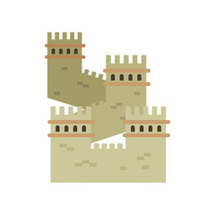 Great Wall of China. Colored landmark icon in flat style. Ancient cultural monument. Historical northern border. Isolated vector illustration
