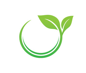 green leaf nature vector logo design