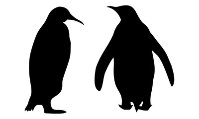 the silhouette of two penguins