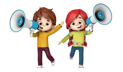 Niños hablando con un megáfono