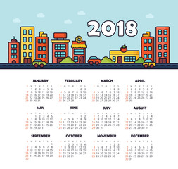 Calendar 2018 year. Week starts from Sunday