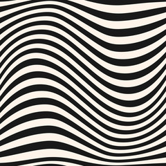 Horizontal curved wavy lines pattern. Striped monochrome vector seamless texture