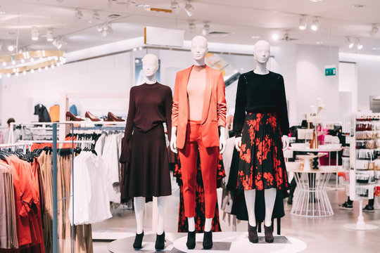 Mannequins Dressed In Female Woman Casual Clothes In Store Of Shopping