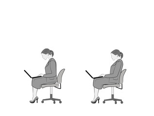 correct positions for working with a laptop. vector illustration.