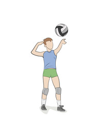 valleyball player isolated on white. vector illustration