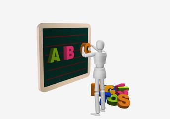 Marionettenfigur hängt Buchstabenmagnetenan eine Tafel.