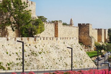 Ancient wall of the old city, Jerusalem.