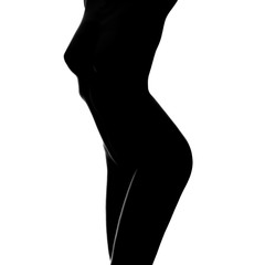Sexy body nude woman. Naked sensual beautiful girl. Artistic black and white photo.