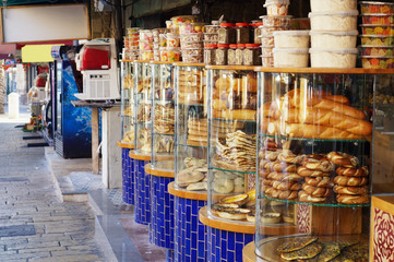 Street food, Jaffa, Old City, Israel. Variety of Jewish street bakery. Traditional Middle East bread in Jaffa.
