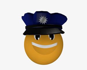 Emoticon mit Polizeimütze