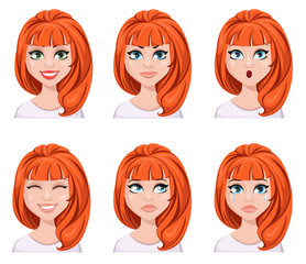 Face expressions of a redhead woman. Different female emotions, set.