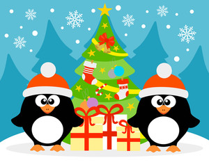 Happy New Year background with two funny penguins.Vector illustration