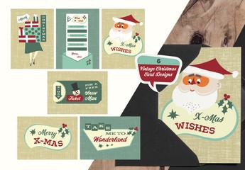 6 Retro Christmas Cards