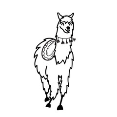 Vector illustration. Cute character lama
