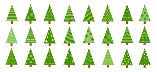 Hand drawn set of Christmas trees. Holidays background. Abstract doodle drawing woods. Vector art illustration