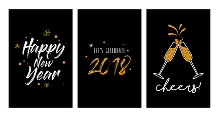 Wall Mural - new year party invitation template set. new year greeting cards or posters