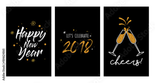 new year party invitation template set new year greeting cards or posters