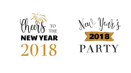 Wall Mural - Happy New Year typographic emblems set. text design. Black, white and gold. Usable for banners, greeting cards, gifts