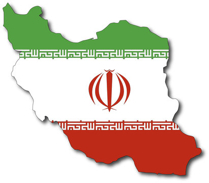 vector flag map of iran, outline drawing
