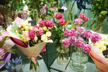 Assortment of beautiful flowers in shop
