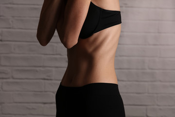 Skinny woman suffering Eating disorders anorexia and bulimia close up of stomach