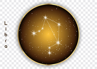 Libra zodiac constellations sign on beautiful starry sky with galaxy and space behind. Balance horoscope symbol constellation on deep cosmos background. vector isolated
