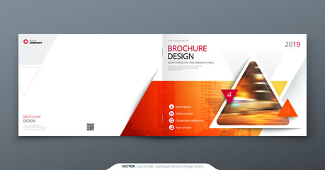 Photo sur Plexiglas Gris Brochure template layout, cover design annual report, magazine, flyer or booklet in A4 with red triangle geometric shapes. Vector Illustration.