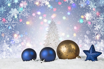 Christmas scene with gold and blue ornaments