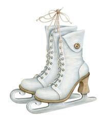 Watercolor Vintage Ice Skates