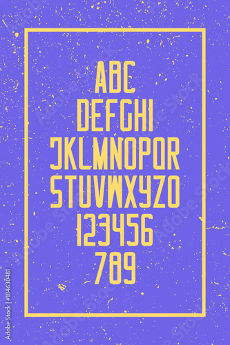grunge style alphabet letters and numbers  vector, retro font type