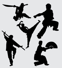 Kung fu martial art training silhouette Good use for symbol, logo, web icon, mascot, sign, sticker, or any design you want