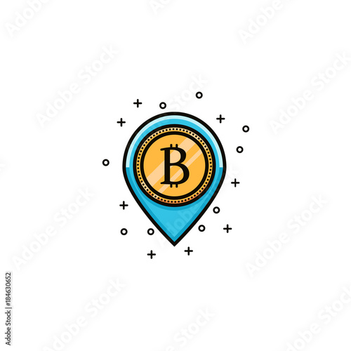 Bitcoin Sign Into Map Pointer Flat Color Line Icon Crypto