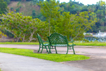 green benches in the Park