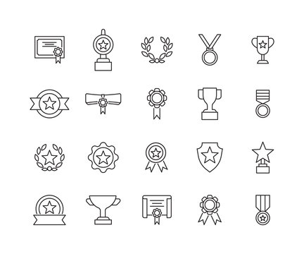 Simple linear awards set icon