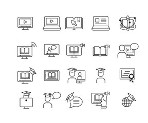 Simple online education linear set icon