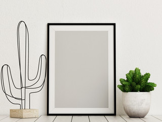 Mock up poster with cactus decoration, 3d render, 3d illustration