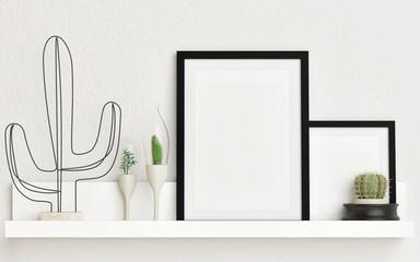 Mock up poster composition with cactus decoration, 3d illustration, 3d render