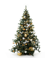 Christmas tree with golder patchwork ornament artificial star hearts balls bells presents for new year isolated