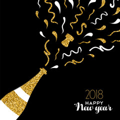 Happy New Year 2018 gold glitter party drink card