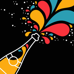 Champagne party bottle splash in outline style