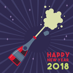 Happy New Year 2018 party drink bottle splash