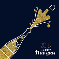 New Year 2018 gold glitter champagne party bottle